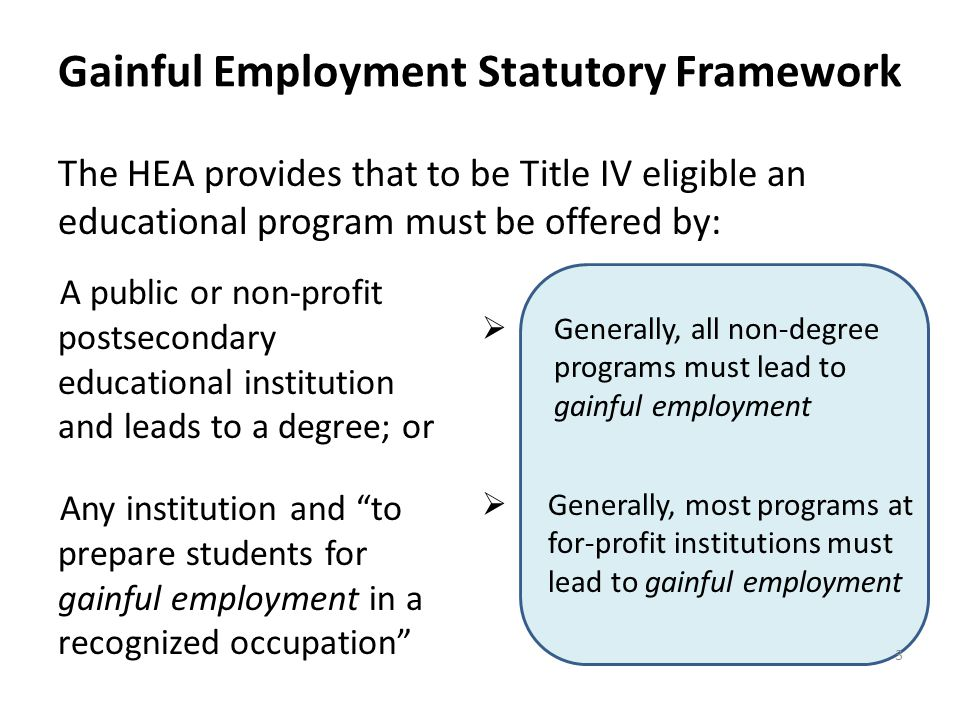 Gainful Employment Statutory Framework The HEA provides that to be Title IV eligible an educational program must be offered by: 3  Generally, all non-degree programs must lead to gainful employment A public or non-profit postsecondary educational institution and leads to a degree; or Any institution and to prepare students for gainful employment in a recognized occupation  Generally, most programs at for-profit institutions must lead to gainful employment