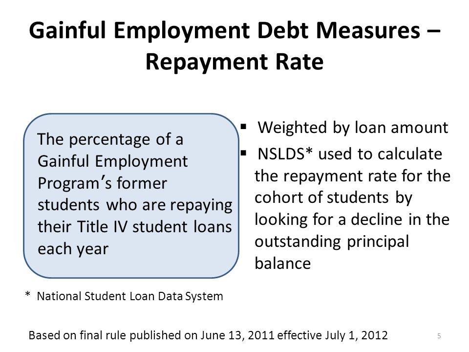 Gainful Employment Debt Measures – Debt-to-Earnings Ratios 6  Institutions identify students who completed the program  Total annual student loans payment (not just federal loans if other debt was provide by the institution) included in debt calculation  NSLDS* used to identify Title IV debt and calculate the annual loan payment amount  Higher of mean or median annual earnings from Social Security Administration  Discretionary Income - Annual earnings less 150% of the poverty level for a single person The median educational loan annual repayment amount of students who completed a Gainful Employment Program as a proportion of those former student's average annual earnings two years after completing the GE program * National Student Loan Data System Based on final rule published on June 13, 2011 effective July 1, 2012