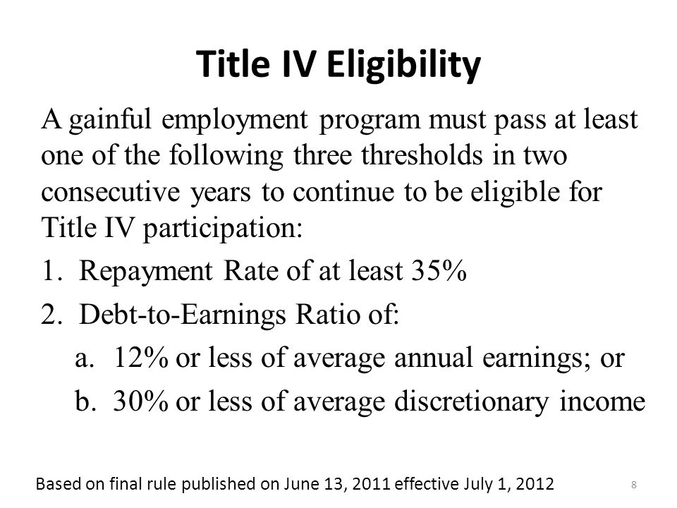 Eligibility is by program, not by institution How the Gainful Employment Thresholds Work Program Federal Student loan repayment rate ≥35% Institution FAIL PASS Example Outcome : Each program is evaluated separately on three metrics Each metric has specific passing threshold Passing Programs must meet at least one threshold Failing Programs must Fail all three thresholds Must disclose more Retain Title IV eligibility unless fail for three years out of four Debt-to-earnings Discretionary ≤30% Debt-to-earnings Annual ≤12% PASS