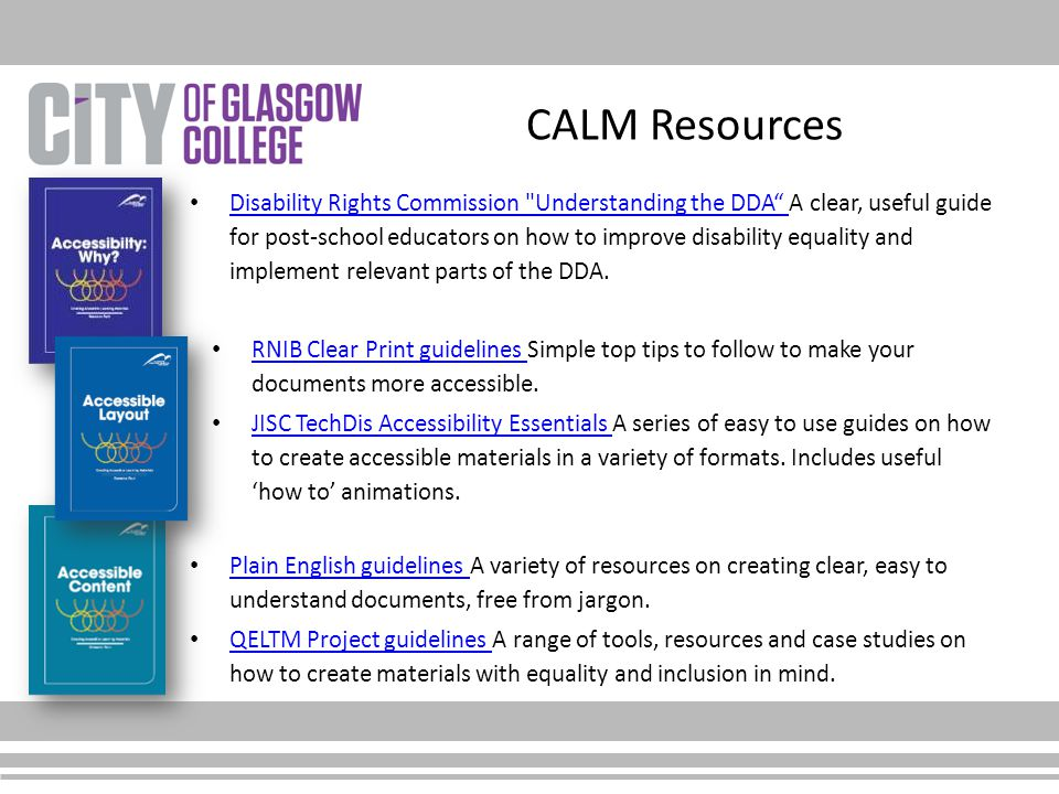 CALM Resources Disability Rights Commission