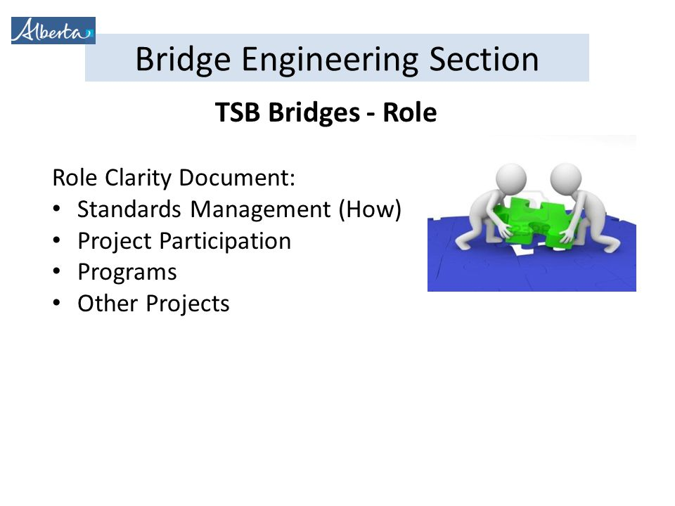Bridge Engineering Section TSB Bridges - Role Role Clarity Document: Standards Management (How) Project Participation Programs Other Projects