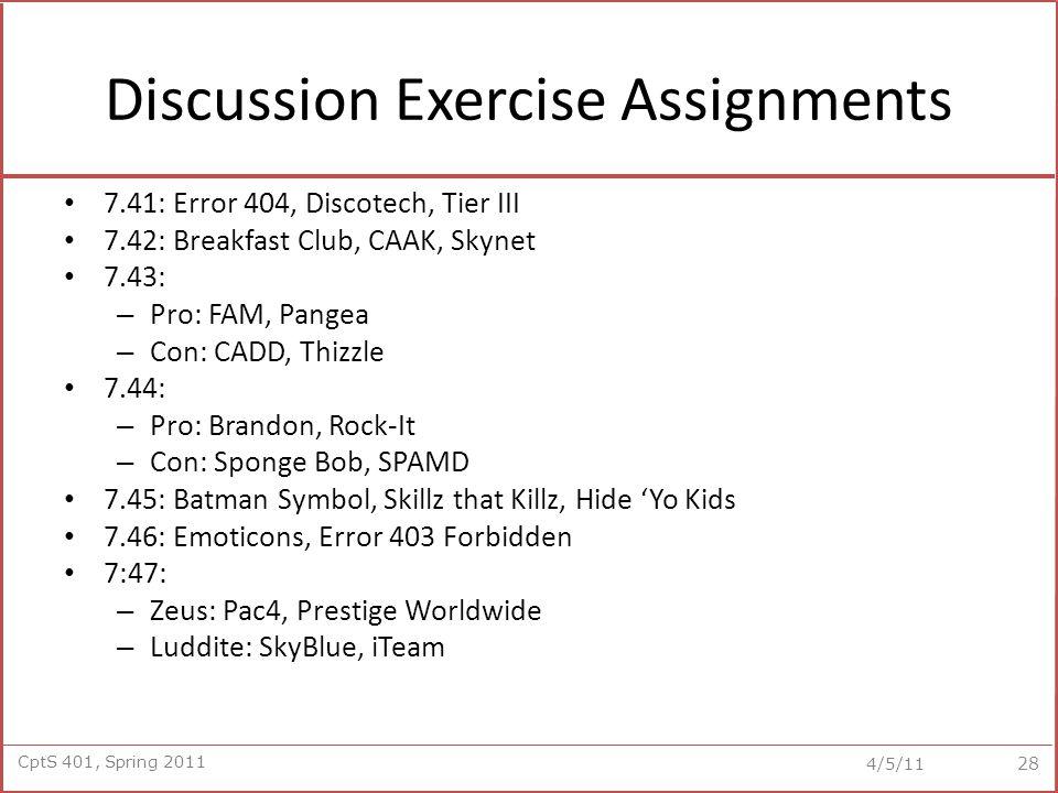 CptS 401, Spring 2011 4/5/11 Discussion Exercise Assignments 7.41: Error 404, Discotech, Tier III 7.42: Breakfast Club, CAAK, Skynet 7.43: – Pro: FAM, Pangea – Con: CADD, Thizzle 7.44: – Pro: Brandon, Rock-It – Con: Sponge Bob, SPAMD 7.45: Batman Symbol, Skillz that Killz, Hide 'Yo Kids 7.46: Emoticons, Error 403 Forbidden 7:47: – Zeus: Pac4, Prestige Worldwide – Luddite: SkyBlue, iTeam 28