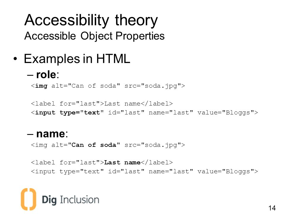 Accessibility theory Accessible Object Properties Examples in HTML –role: Last name –name: Last name 14