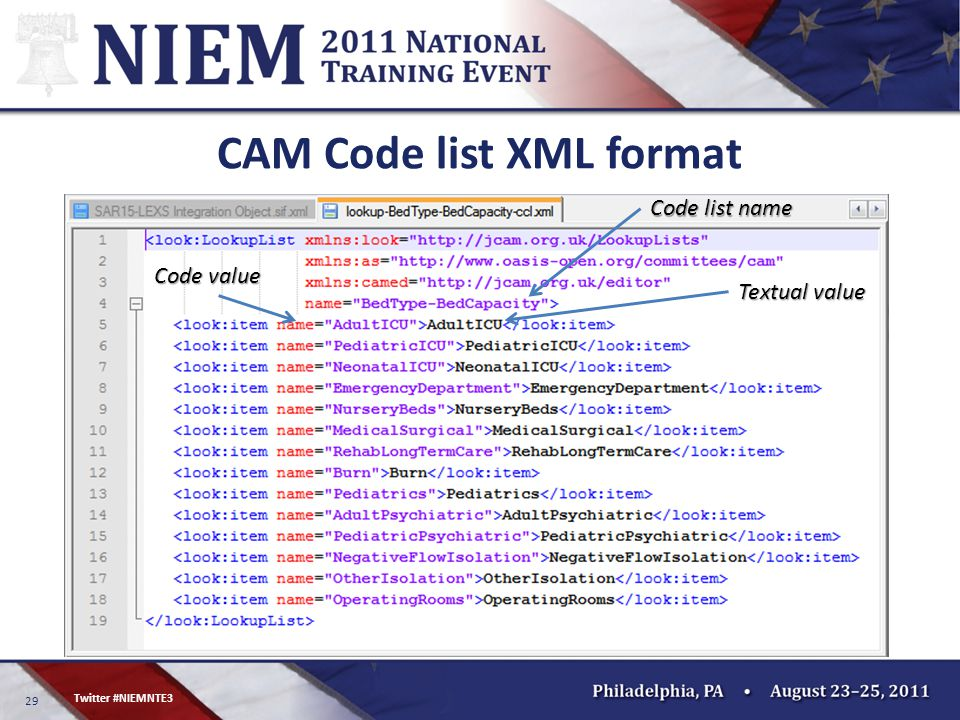 29 Twitter #NIEMNTE3 CAM Code list XML format Textual value Code value Code list name