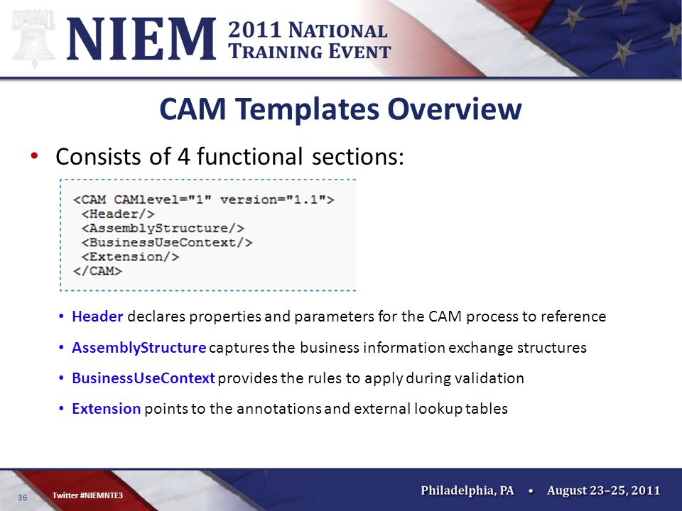 36 Twitter #NIEMNTE3 CAM Templates Overview Consists of 4 functional sections: Header declares properties and parameters for the CAM process to reference AssemblyStructure captures the business information exchange structures BusinessUseContext provides the rules to apply during validation Extension points to the annotations and external lookup tables
