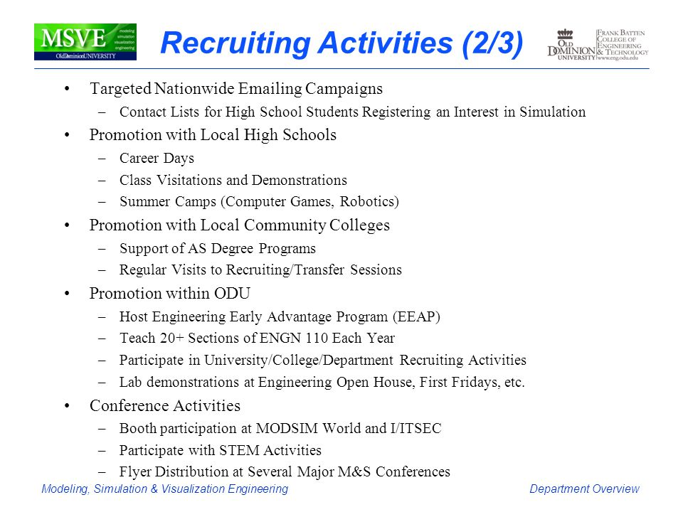 Modeling, Simulation & Visualization EngineeringDepartment Overview Recruiting Activities (2/3) Targeted Nationwide Emailing Campaigns –Contact Lists