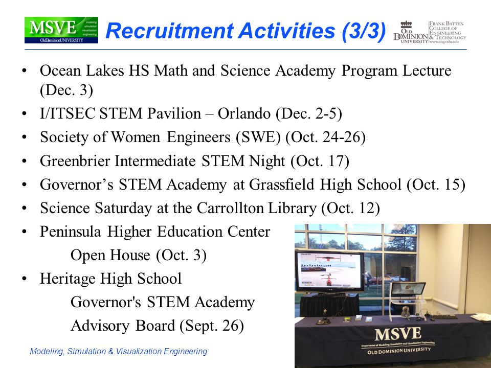 Modeling, Simulation & Visualization EngineeringDepartment Overview Recruitment Activities (3/3) Ocean Lakes HS Math and Science Academy Program Lectu