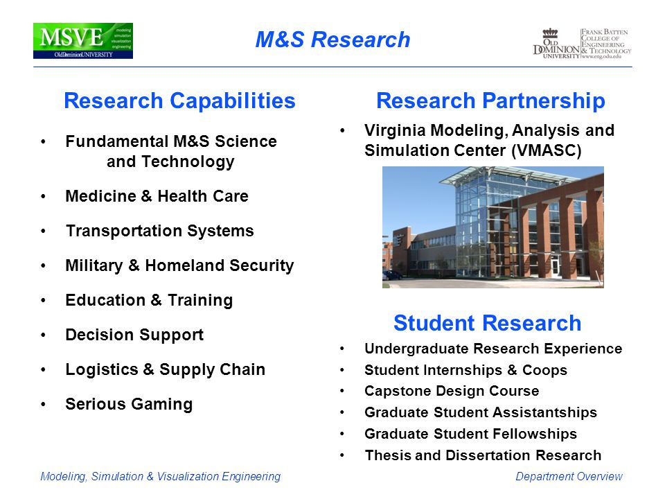 Modeling, Simulation & Visualization EngineeringDepartment Overview M&S Research Research Capabilities Fundamental M&S Science and Technology Medicine