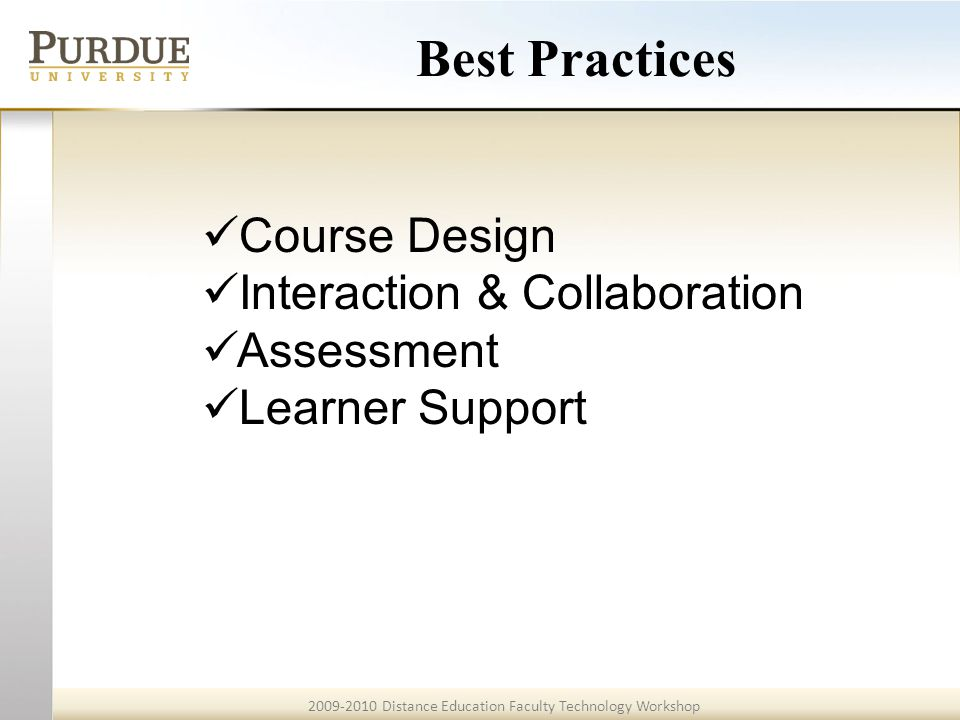 2009-2010 Distance Education Faculty Technology Workshop Example 3 <<Back