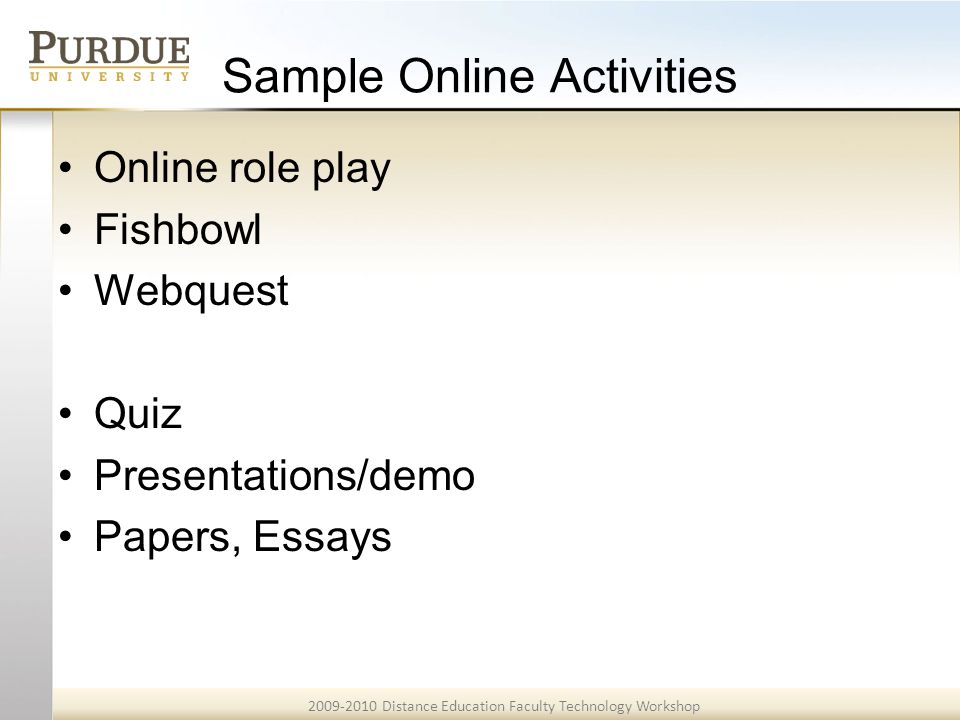 2009-2010 Distance Education Faculty Technology Workshop Example 9A <<Back