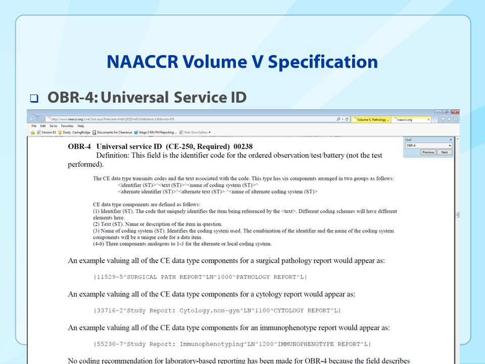 NAACCR Volume V Specification  OBR-4: Universal Service ID