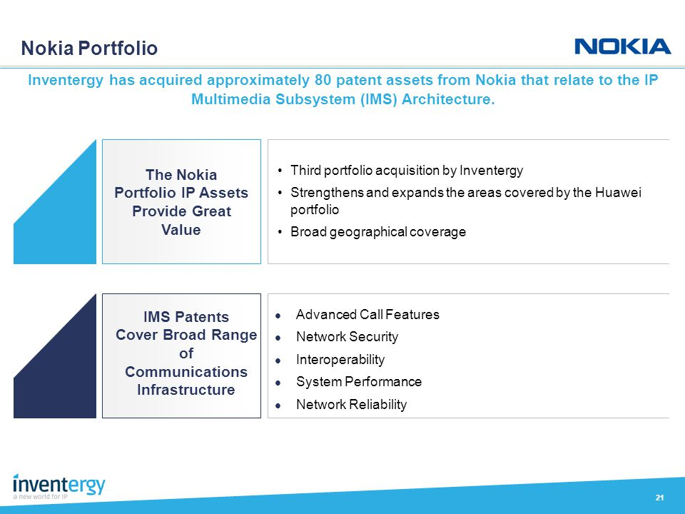 Nokia Portfolio 21 Inventergy has acquired approximately 80 patent assets from Nokia that relate to the IP Multimedia Subsystem (IMS) Architecture. Th