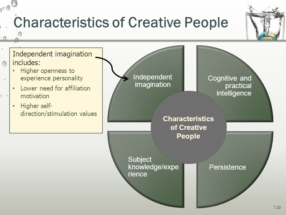 7-20 Cognitive and practical intelligence Persistence Subject knowledge/expe rience Independent imagination Characteristics of Creative People Independent imagination includes: Higher openness to experience personality Lower need for affiliation motivation Higher self- direction/stimulation values Characteristics of Creative People