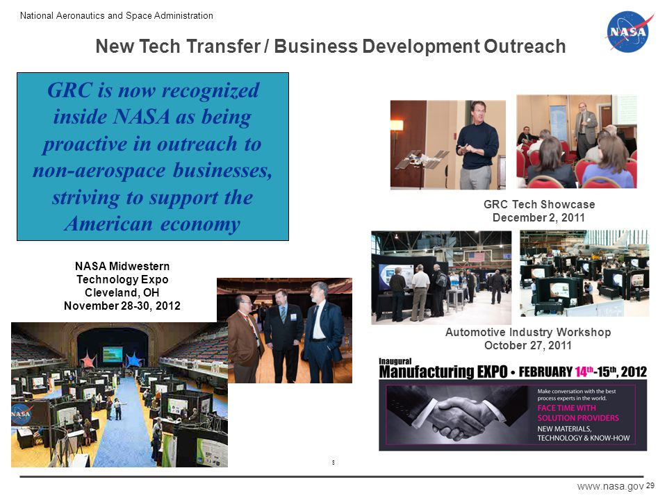 National Aeronautics and Space Administration www.nasa.gov 8 New Tech Transfer / Business Development Outreach Automotive Industry Workshop October 27, 2011 29 GRC Tech Showcase December 2, 2011 GRC is now recognized inside NASA as being proactive in outreach to non-aerospace businesses, striving to support the American economy NASA Midwestern Technology Expo Cleveland, OH November 28-30, 2012