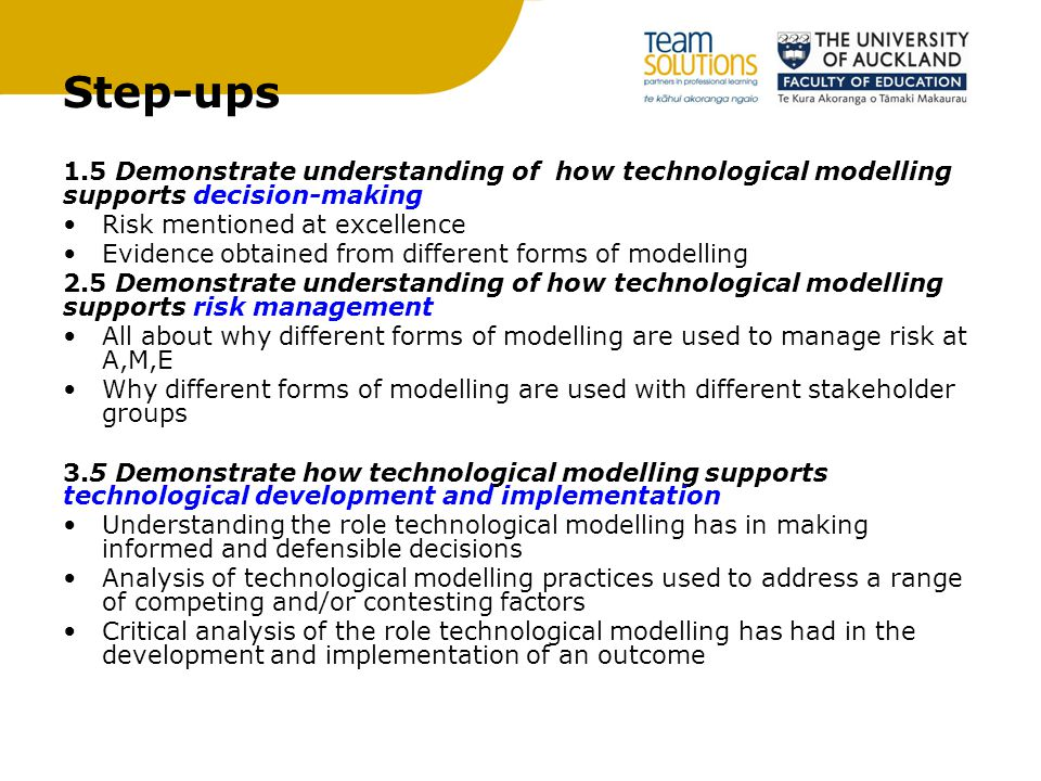 Step-ups 1.5 Demonstrate understanding of how technological modelling supports decision-making Risk mentioned at excellence Evidence obtained from different forms of modelling 2.5 Demonstrate understanding of how technological modelling supports risk management All about why different forms of modelling are used to manage risk at A,M,E Why different forms of modelling are used with different stakeholder groups 3.5 Demonstrate how technological modelling supports technological development and implementation Understanding the role technological modelling has in making informed and defensible decisions Analysis of technological modelling practices used to address a range of competing and/or contesting factors Critical analysis of the role technological modelling has had in the development and implementation of an outcome