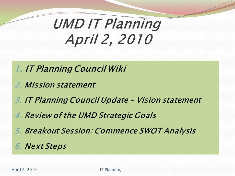 UMD IT Planning April 2, 2010 IT Planning Council Wiki Damon Gatenby, Instructional Technologist http://teamitplanning.umassd.wikispaces.net/ April 2, 2010IT Planning
