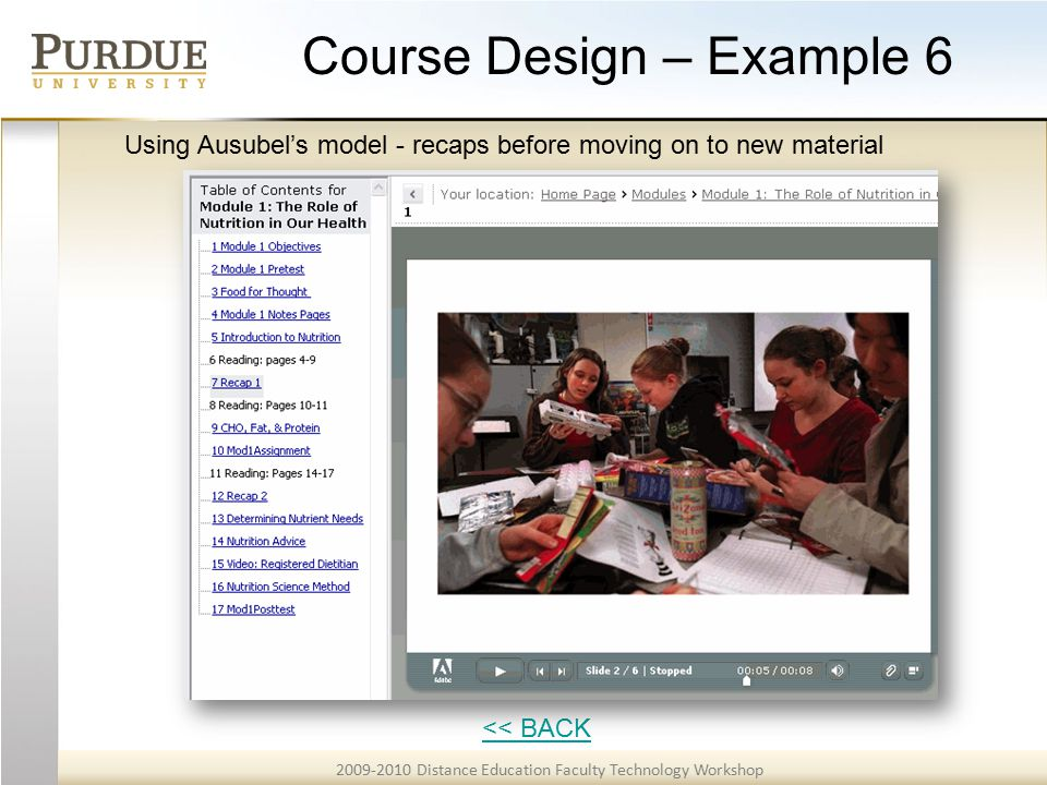 2009-2010 Distance Education Faculty Technology Workshop Course Design – Example 6 << BACK Using Ausubel's model - recaps before moving on to new material
