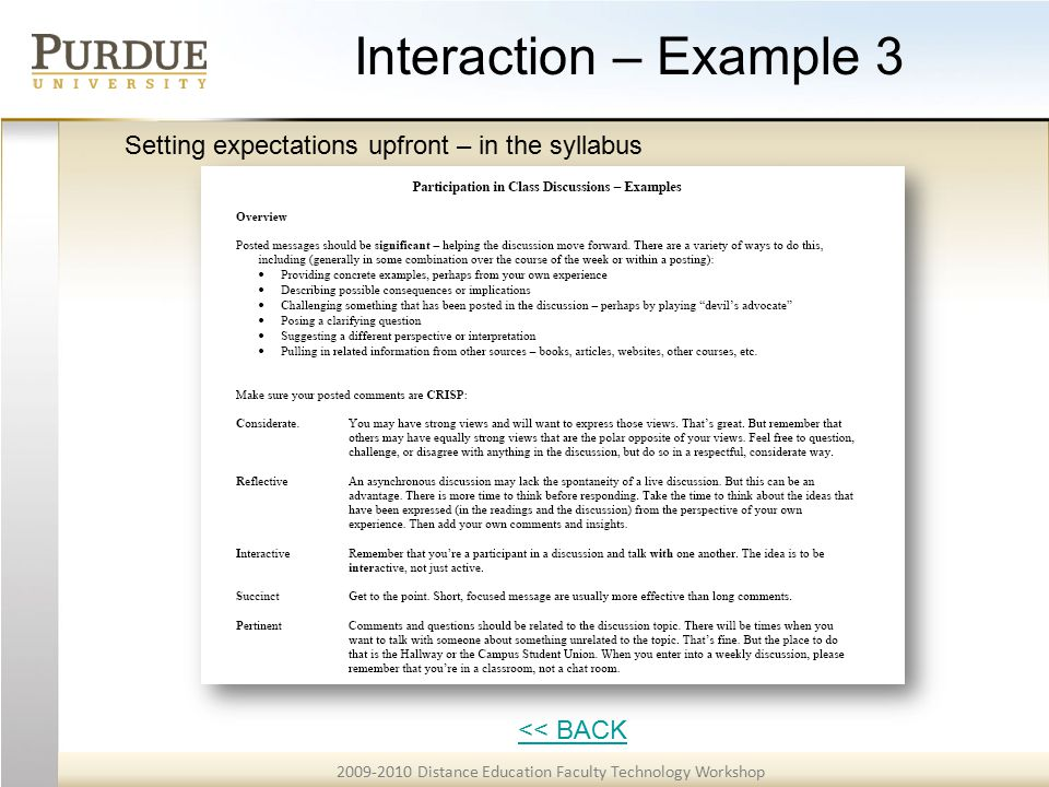 2009-2010 Distance Education Faculty Technology Workshop Interaction – Example 3 << BACK Setting expectations upfront – in the syllabus