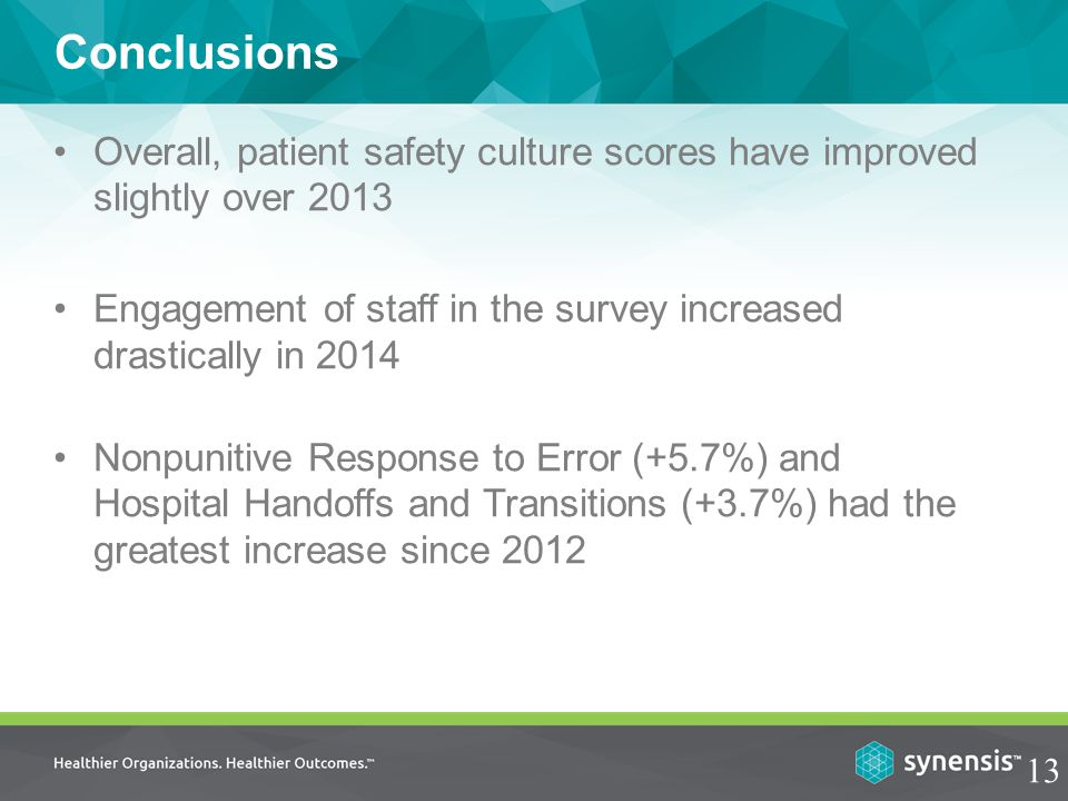 Conclusions Overall, patient safety culture scores have improved slightly over 2013 Engagement of staff in the survey increased drastically in 2014 13 Nonpunitive Response to Error (+5.7%) and Hospital Handoffs and Transitions (+3.7%) had the greatest increase since 2012
