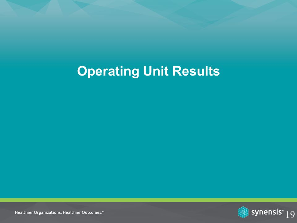 Operating Unit Results 19