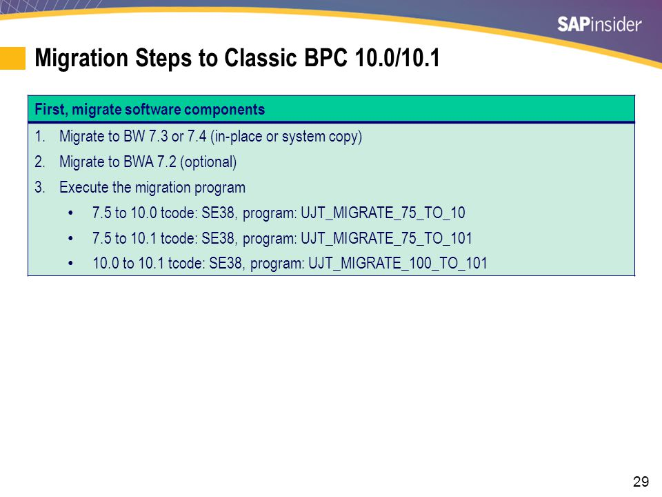 29 Migration Steps to Classic BPC 10.0/10.1 First, migrate software components 1.Migrate to BW 7.3 or 7.4 (in-place or system copy) 2.Migrate to BWA 7.2 (optional) 3.Execute the migration program 7.5 to 10.0 tcode: SE38, program: UJT_MIGRATE_75_TO_10 7.5 to 10.1 tcode: SE38, program: UJT_MIGRATE_75_TO_101 10.0 to 10.1 tcode: SE38, program: UJT_MIGRATE_100_TO_101