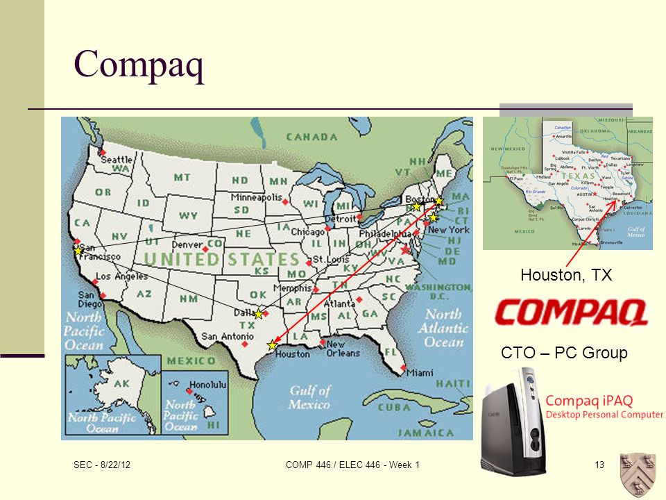 SEC - 8/22/12 COMP 446 / ELEC 446 - Week 113 Compaq Houston, TX CTO – PC Group