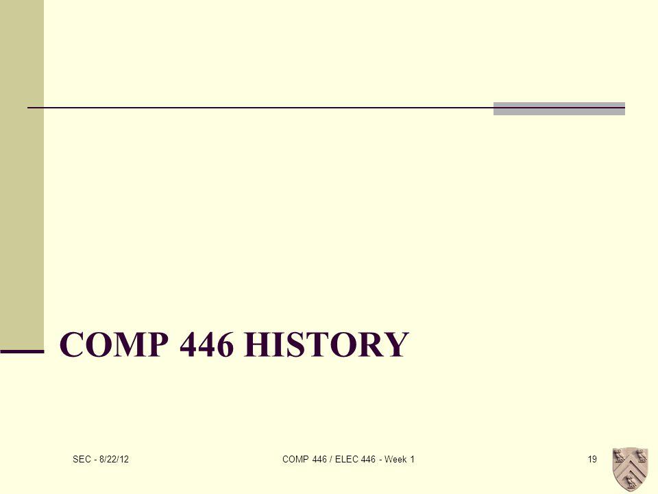 COMP 446 HISTORY SEC - 8/22/12 COMP 446 / ELEC 446 - Week 119