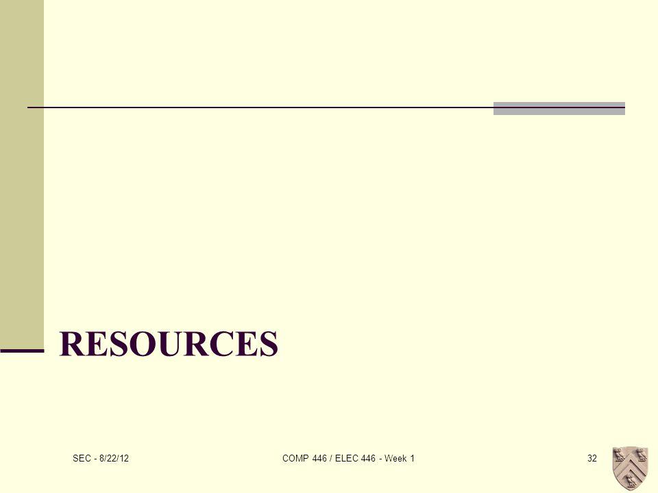 RESOURCES SEC - 8/22/12 COMP 446 / ELEC 446 - Week 132