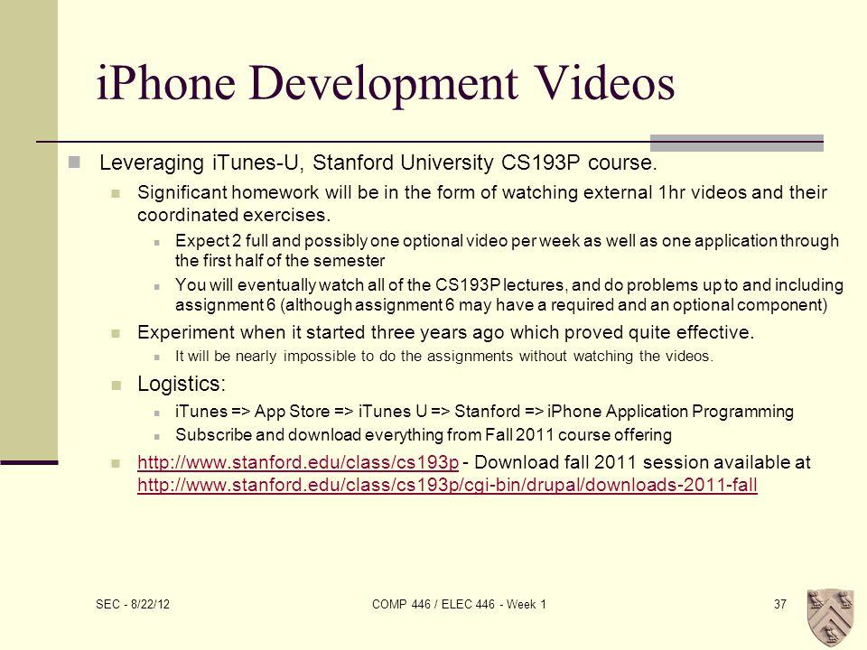 iPhone Development Videos Leveraging iTunes-U, Stanford University CS193P course.