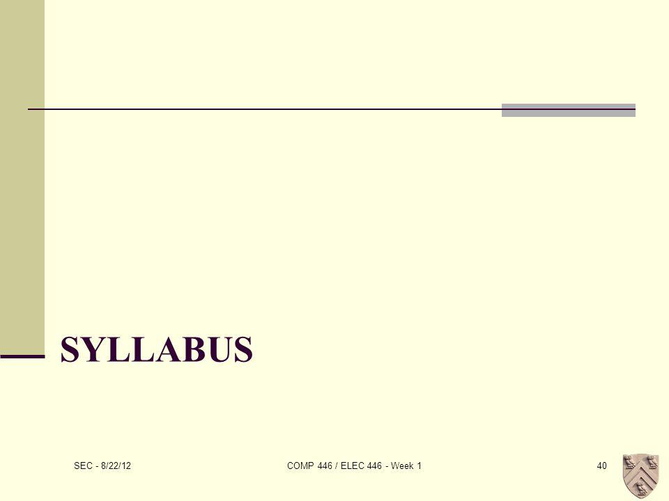 SYLLABUS SEC - 8/22/12 COMP 446 / ELEC 446 - Week 140