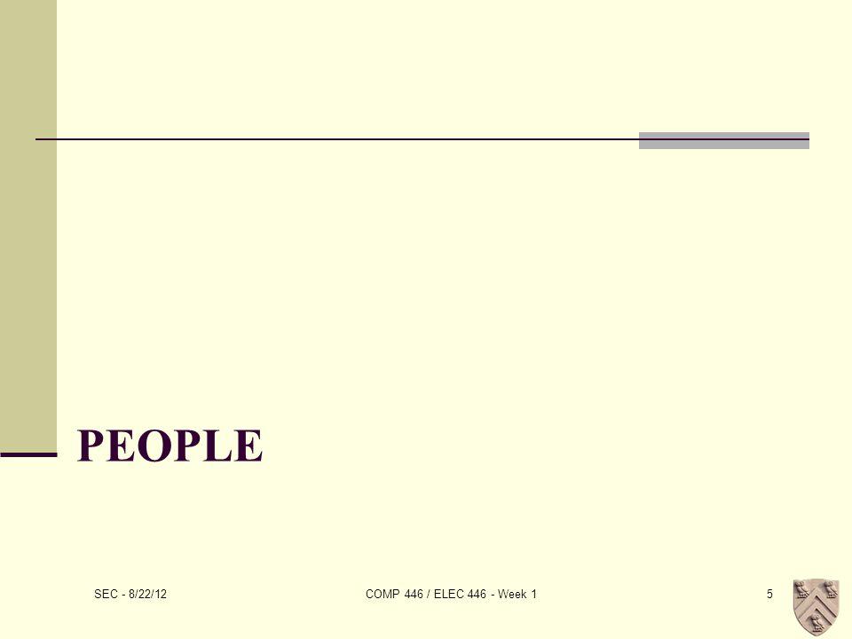 PEOPLE SEC - 8/22/12 COMP 446 / ELEC 446 - Week 15