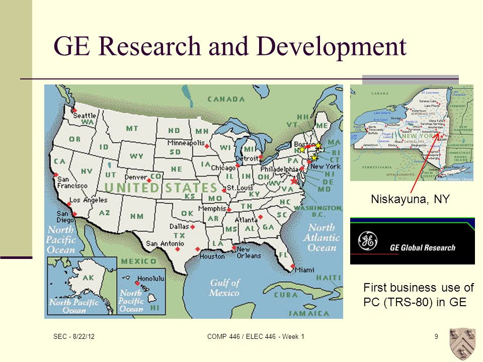SEC - 8/22/12 COMP 446 / ELEC 446 - Week 19 GE Research and Development Niskayuna, NY First business use of PC (TRS-80) in GE