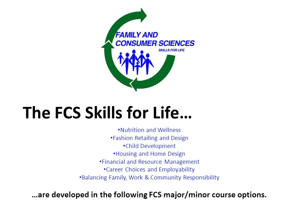 The FCS Skills for Life… Nutrition and Wellness Fashion Retailing and Design Child Development Housing and Home Design Financial and Resource Management Career Choices and Employability Balancing Family, Work & Community Responsibility …are developed in the following FCS major/minor course options.