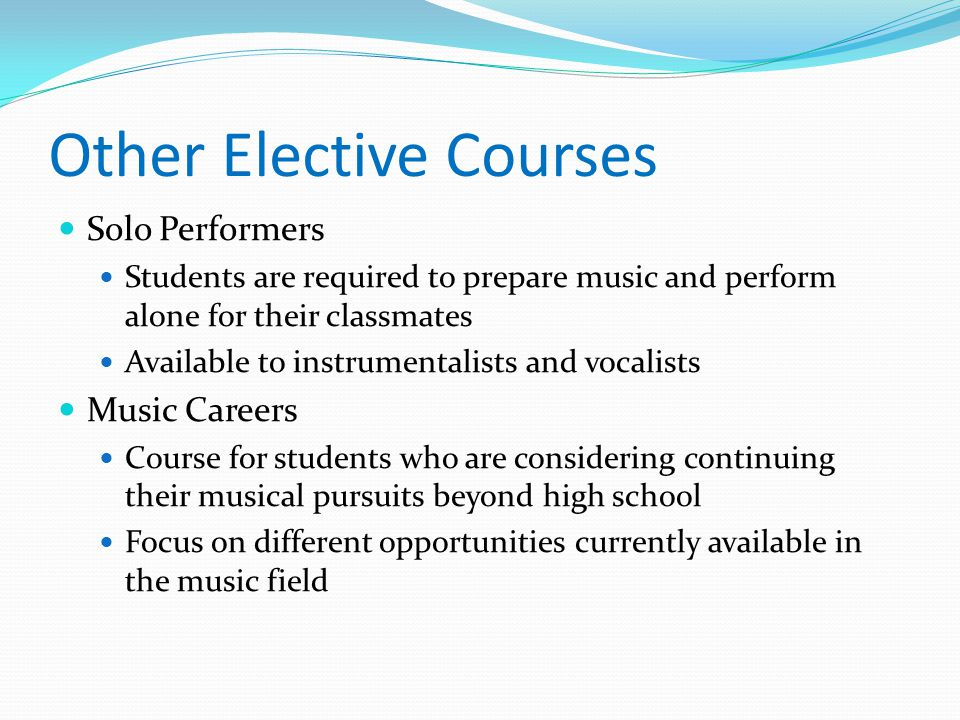 Other Elective Courses Solo Performers Students are required to prepare music and perform alone for their classmates Available to instrumentalists and vocalists Music Careers Course for students who are considering continuing their musical pursuits beyond high school Focus on different opportunities currently available in the music field