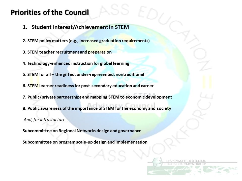 Priorities of the Council 1.Student Interest/Achievement in STEM 2. STEM policy matters (e.g., increased graduation requirements) 3. STEM teacher recr