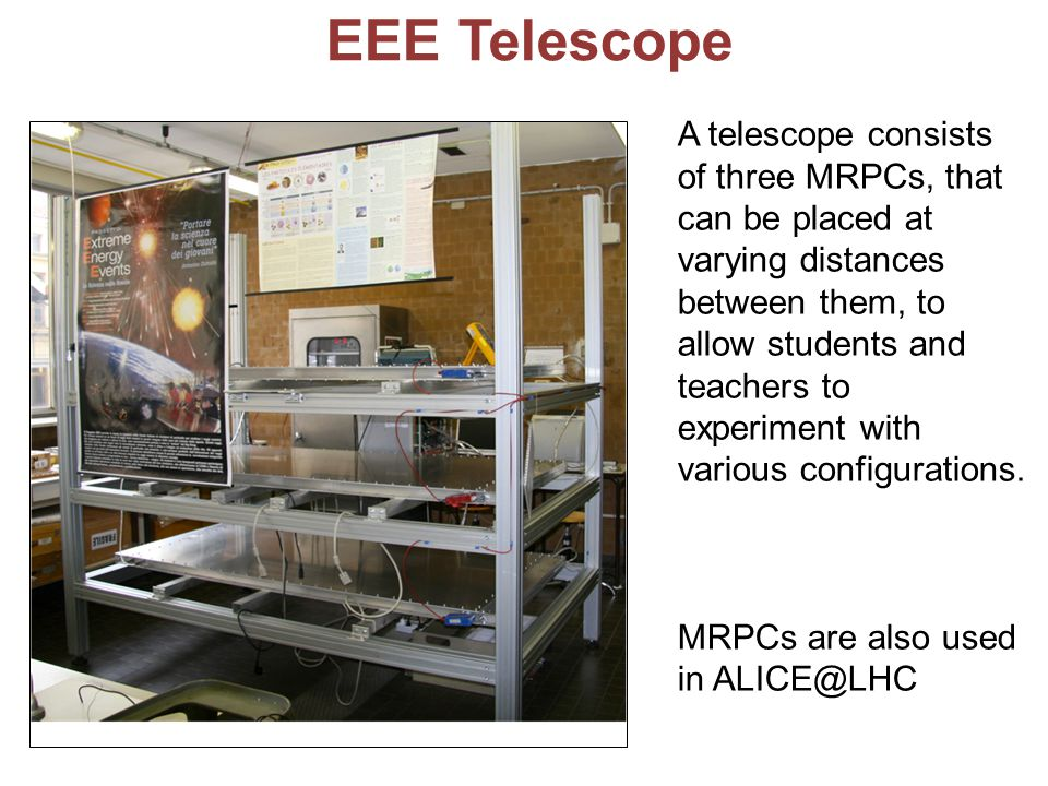 EEE Telescope A telescope consists of three MRPCs, that can be placed at varying distances between them, to allow students and teachers to experiment with various configurations.