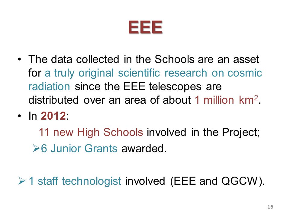 EEE The data collected in the Schools are an asset for a truly original scientific research on cosmic radiation since the EEE telescopes are distributed over an area of about 1 million km 2.