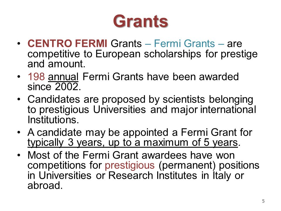 Grants Fermi Grants are awarded for: –CENTRO FERMI research (Strategical) Projects; –free individual research topics.
