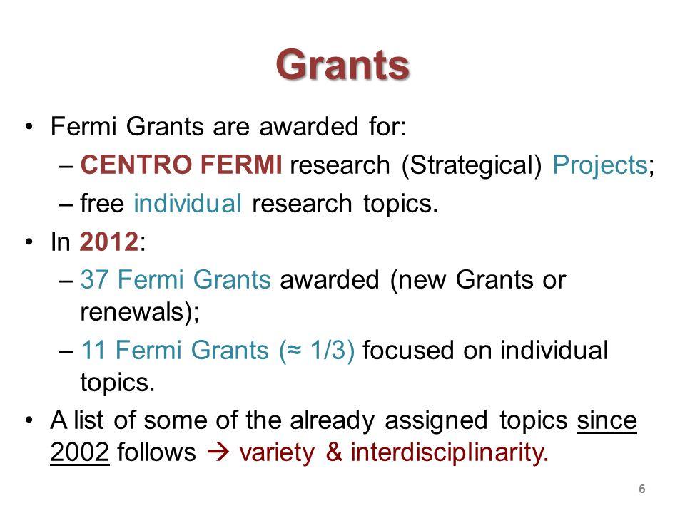 Grants Fermi Grants are awarded for: –CENTRO FERMI research (Strategical) Projects; –free individual research topics.