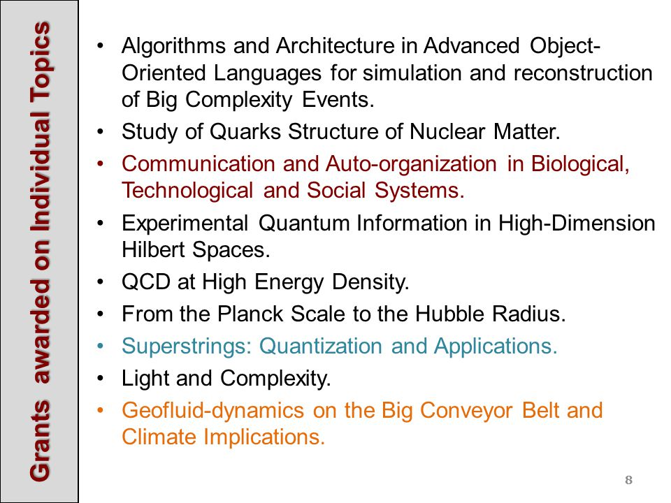 Algorithms and Architecture in Advanced Object- Oriented Languages for simulation and reconstruction of Big Complexity Events.