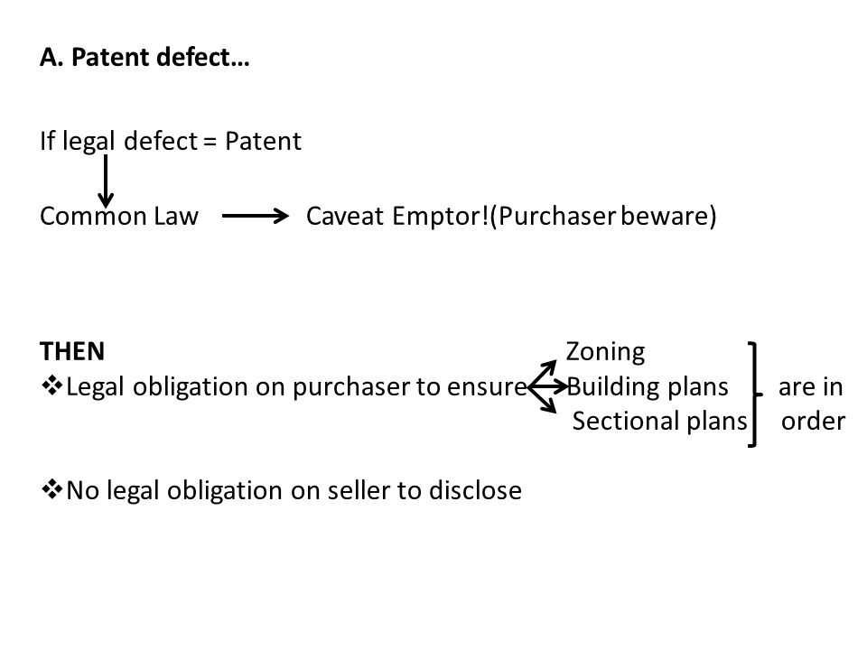 A. Patent defect… If legal defect = Patent Common Law Caveat Emptor!(Purchaser beware) THEN Zoning  Legal obligation on purchaser to ensure Building