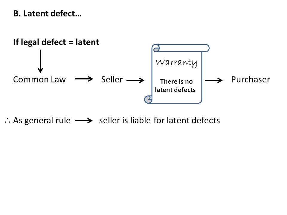 B. Latent defect… If legal defect = latent Common Law Seller Purchaser As general rule seller is liable for latent defects Warranty There is no latent