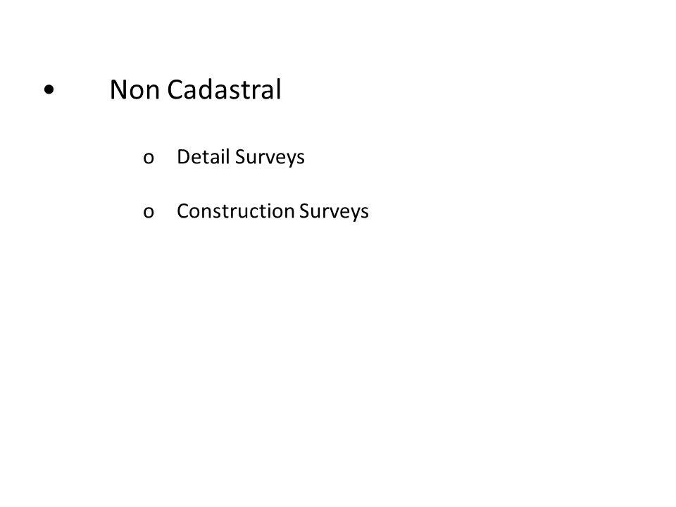 Non Cadastral oDetail Surveys oConstruction Surveys