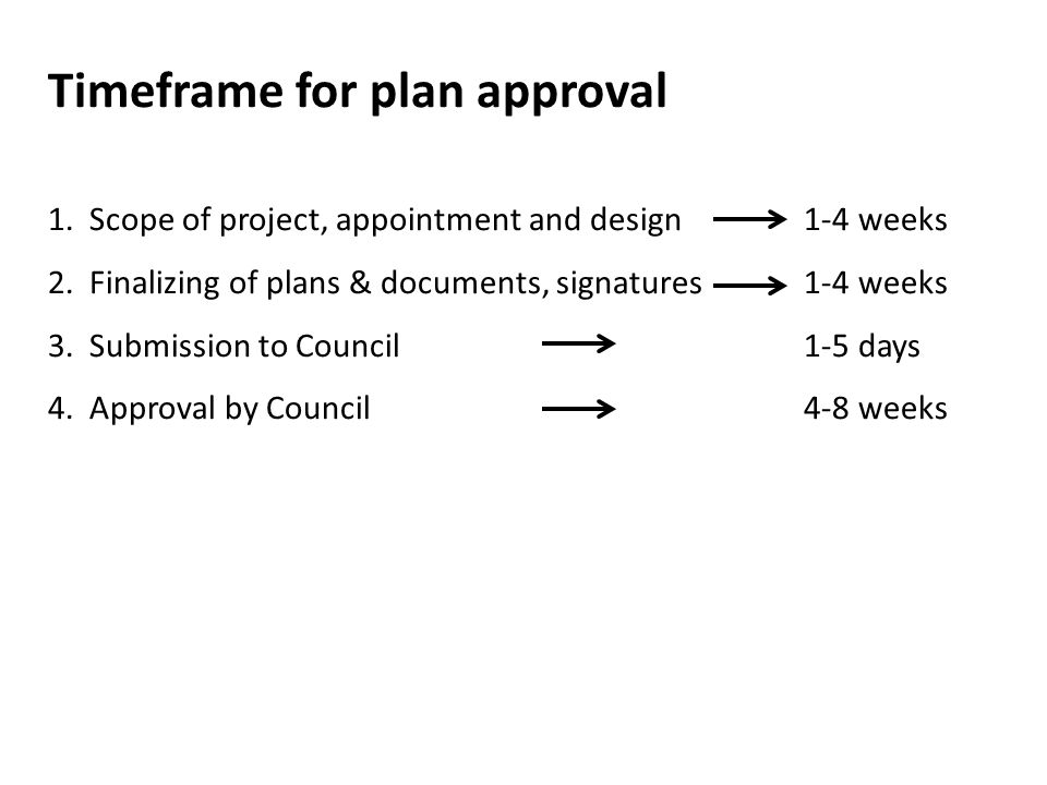 Timeframe for plan approval 1. Scope of project, appointment and design 1-4 weeks 2. Finalizing of plans & documents, signatures 1-4 weeks 3. Submissi