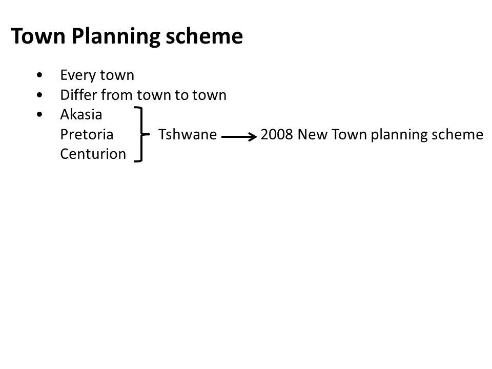 Town Planning scheme Every town Differ from town to town Akasia PretoriaTshwane 2008 New Town planning scheme Centurion
