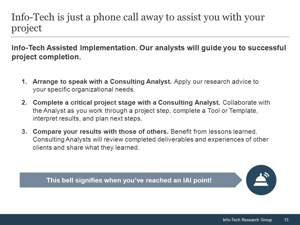 Info-Tech Research Group13 Info-Tech is just a phone call away to assist you with your project Info-Tech Assisted Implementation.