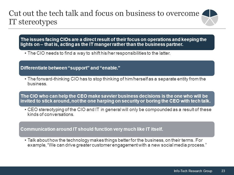 Info-Tech Research Group23 Cut out the tech talk and focus on business to overcome IT stereotypes The issues facing CIOs are a direct result of their