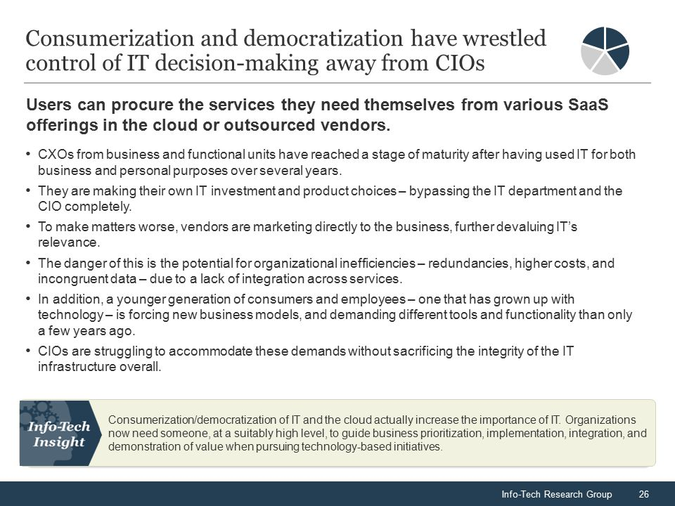 Info-Tech Research Group26 Consumerization and democratization have wrestled control of IT decision-making away from CIOs CXOs from business and functional units have reached a stage of maturity after having used IT for both business and personal purposes over several years.