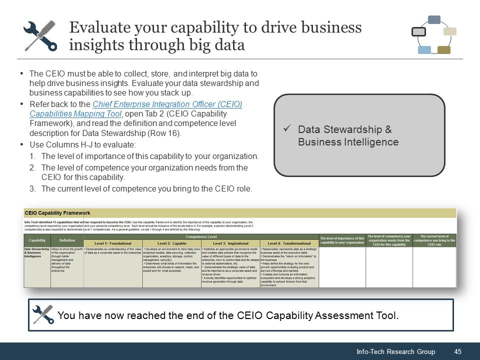 Info-Tech Research Group45 Evaluate your capability to drive business insights through big data Data Stewardship & Business Intelligence The CEIO must