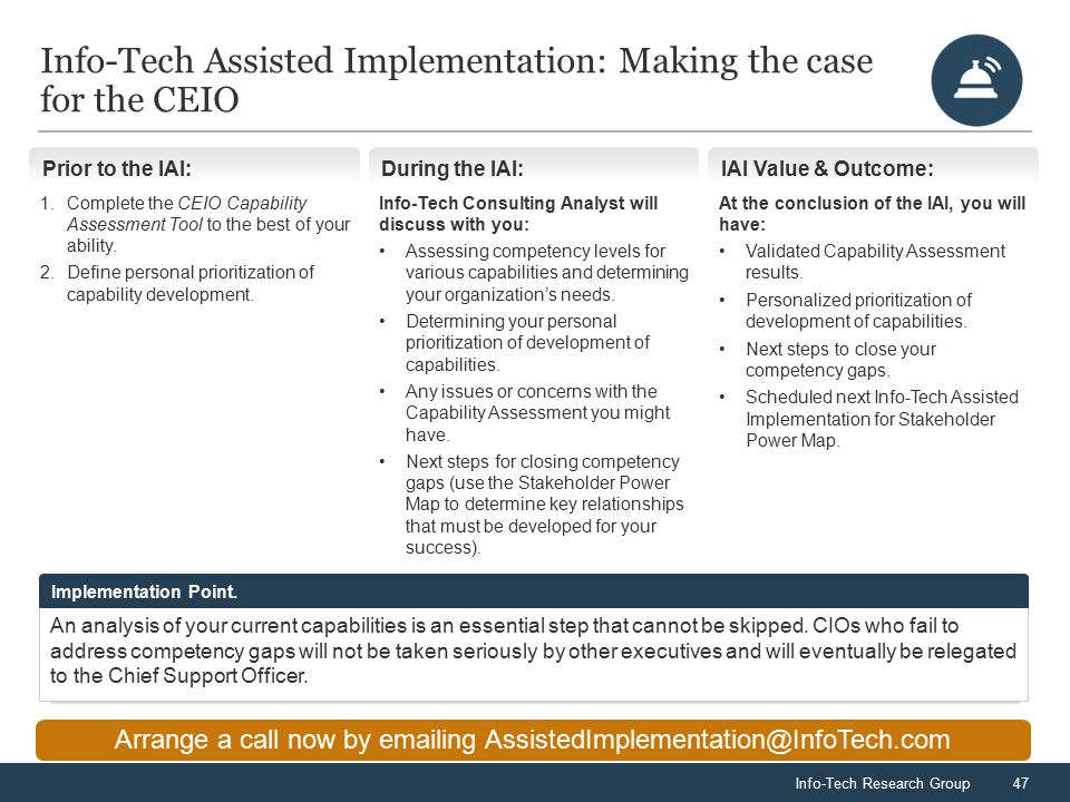 Info-Tech Research Group47 Info-Tech Assisted Implementation: Making the case for the CEIO Arrange a call now by emailing AssistedImplementation@InfoTech.com Prior to the IAI: 1.Complete the CEIO Capability Assessment Tool to the best of your ability.